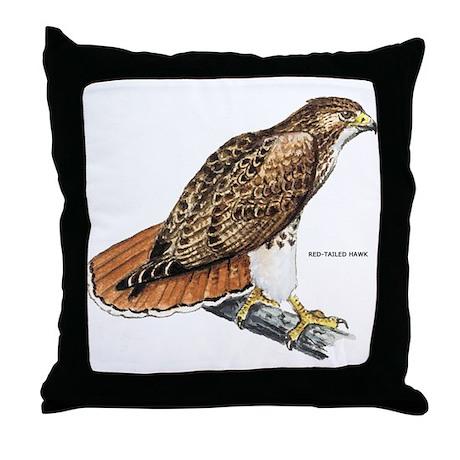 Red Bird Throw Pillow : Red-Tailed Hawk Bird Throw Pillow by animalartwork