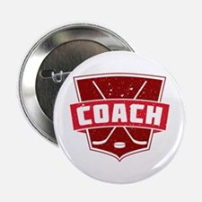 "Hockey Coach Shield (red) 2.25"" Button"