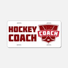 Hockey Coach Shield (red) Aluminum License Plate