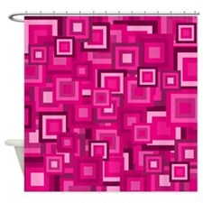 Retro Pink Square Pattern Shower Curtain
