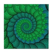 Blue and Green Fractal Art Tile Coaster