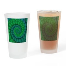 Blue and Green Fractal Art Drinking Glass