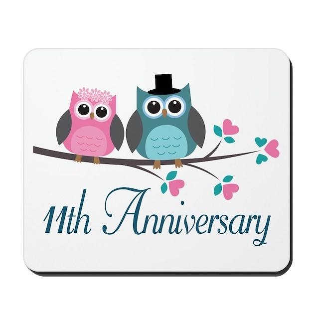 11th Anniversary Wedding Gift Mousepad By Anniversarytshirts2