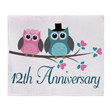 12th Wedding Anniversary Gift Throw Blanket
