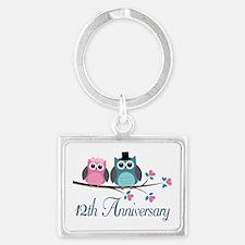 12th Wedding Anniversary Gift Landscape Keychain