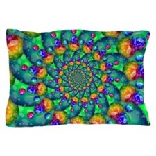 Rainbow Turquoise Fractal Pillow Case