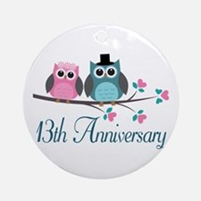 13th Wedding Anniversary Gift Ornament (Round)