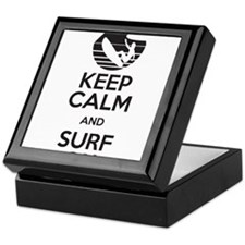 keep calm and surf on Keepsake Box