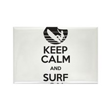 keep calm and surf on Rectangle Magnet