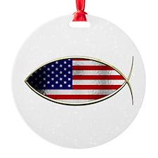 Ichthus - American Flag Ornament