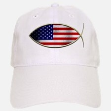 Ichthus - American Flag Baseball Baseball Baseball Cap