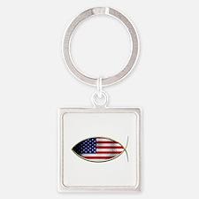 Ichthus - American Flag Keychains