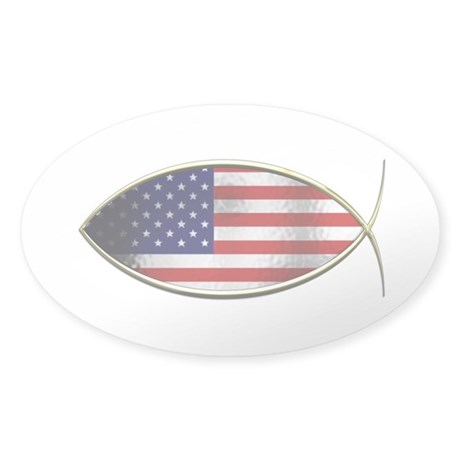 Ichthus - American Flag Sticker