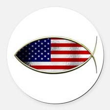 Ichthus - American Flag Round Car Magnet