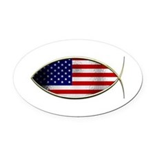Ichthus - American Flag Oval Car Magnet
