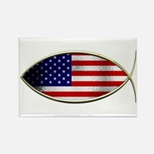 Ichthus - American Flag Rectangle Magnet