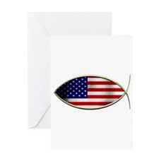 Ichthus - American Flag Greeting Card