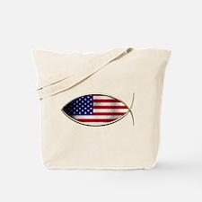 Ichthus - American Flag Tote Bag
