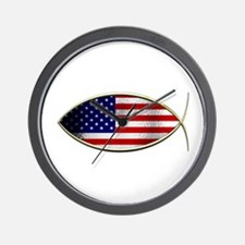 Ichthus - American Flag Wall Clock