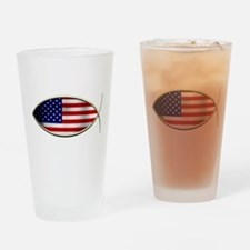 Ichthus - American Flag Drinking Glass