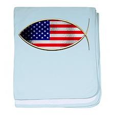 Ichthus - American Flag baby blanket