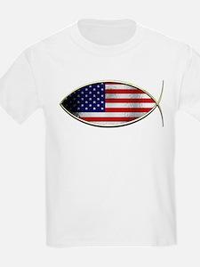 Ichthus - American Flag T-Shirt
