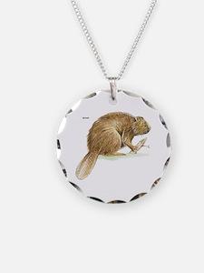 Beaver Animal Necklace Circle Charm