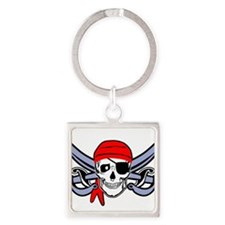 Pirate - Skull with Crossed Swords Square Keychain