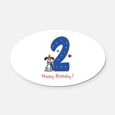 Second Birthday Dog Oval Car Magnet