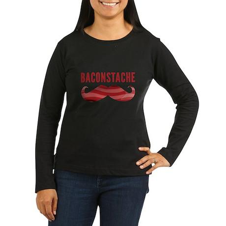Baconstache Women's Long Sleeve Dark T-Shirt