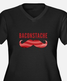 Baconstache Women's Plus Size V-Neck Dark T-Shirt