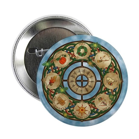 """Celtic Wheel of the Year 2.25"""" Button (100 pack)"""