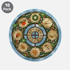 """Celtic Wheel of the Year 3.5"""" Button (10 pack)"""