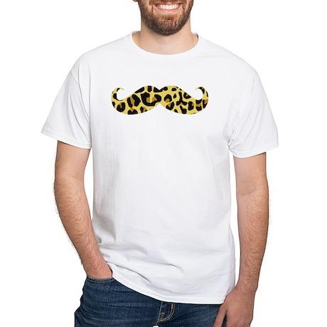 Leopard Stache White T-Shirt