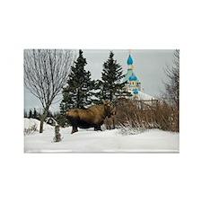 Moose Old Kenai Alaska Rectangle Magnet (10 pack)