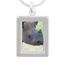 Black Rhino Silver Portrait Necklace