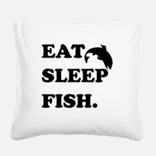 Eat Sleep Fish Square Canvas Pillow
