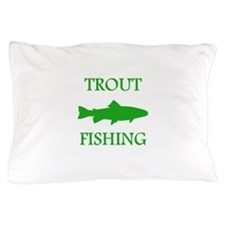 Green Trout Fishing Pillow Case
