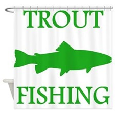 Green Trout Fishing Shower Curtain
