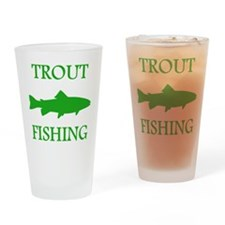 Green Trout Fishing Drinking Glass