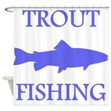 Blue Trout Fishing Shower Curtain