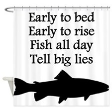 Funny Fish All Day Poem Shower Curtain