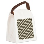 Brown Cocoa Chevron Canvas Lunch Bag