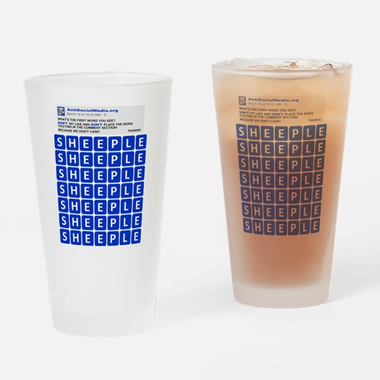 Anti Social Media Word Find Drinking Glass