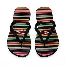 Vintage Black Mexican Serape Flip Flops