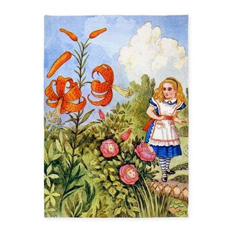 Alice Encounters the Talking Flowers 5'x7'Area Rug
