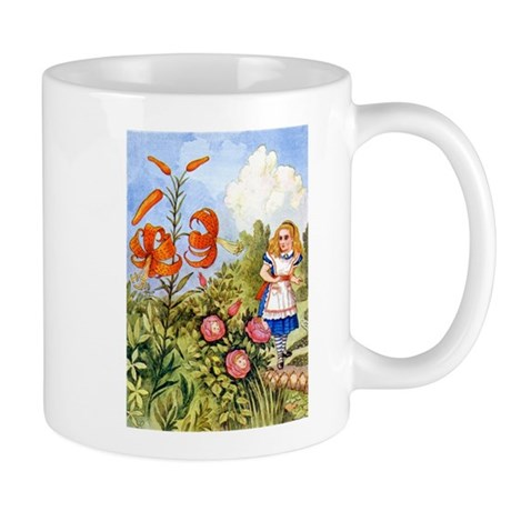 Alice Encounters the Talking Flowers Mug