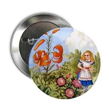 """Alice Encounters the Talking Flowers 2.25"""" Button"""