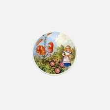 Alice Encounters the Talking Flowers Mini Button