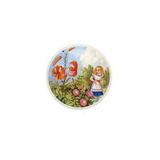 Alice Encounters the Talking Flowers Mini Button (
